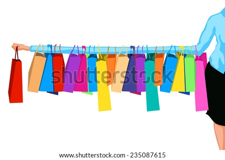 illustration of big sale on white background. a lot of bags on womans hand - stock vector