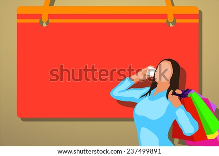 illustration of big sale. woman carrying a lot of bags - stock vector