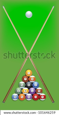 illustration of billard cues and balls on green background - stock vector