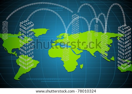 illustration of binary building on world map connected with each other - stock vector