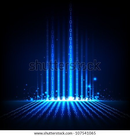 illustration of binary code on abstract technology background - stock vector