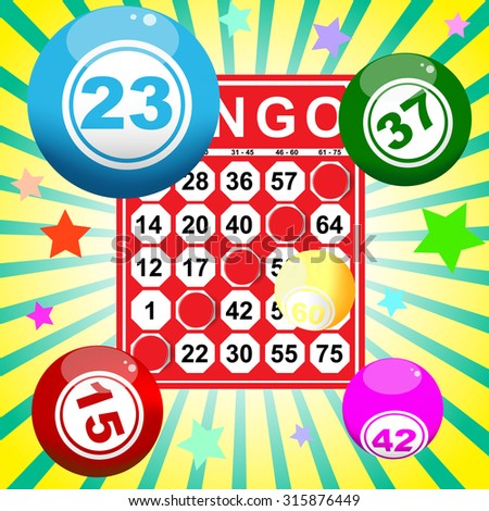 illustration of bingo card and ball - stock vector