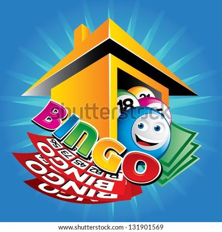 illustration of bingo house - stock vector