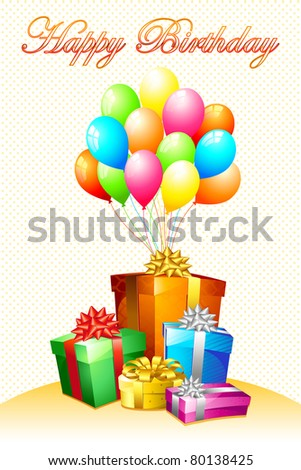 illustration of birthday card with gift and balloon - stock vector