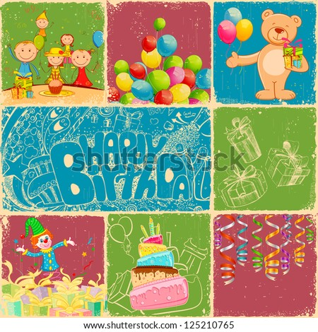 illustration of birthday collage in retro style with different object - stock vector