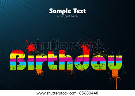 illustration of birthday in multicolor splash on abstract background - stock vector