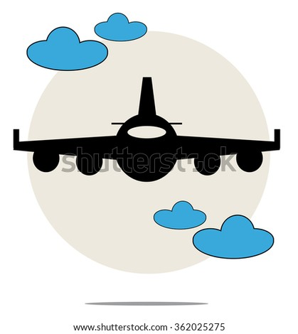 Illustration of black airplane with blue clouds - stock vector