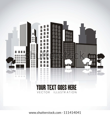 illustration of black and white buildings, with perspective, isolated on white background, vector illustration