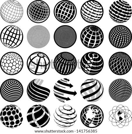 illustration of black and white icons globe - stock vector