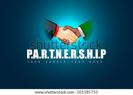 illustration of black and white male handshaking showing Partnership - stock vector