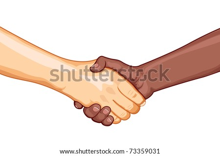 illustration of black and white male handshaking with each other on white background - stock vector