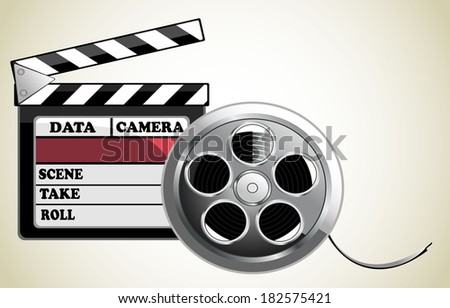 illustration of black clapper board for film, movie and cinema