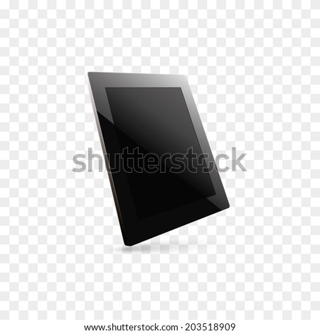 illustration of black computer tablet with black blank screen. 3d view. vector. eps10 - stock vector