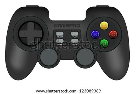Illustration of Black Gamepad Isolated on White - stock vector