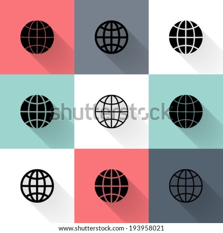 Illustration of Black globe icon set
