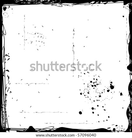 Illustration of black grunge frame. Vector - stock vector