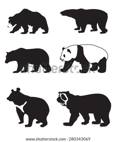illustration of black silhouettes of bears