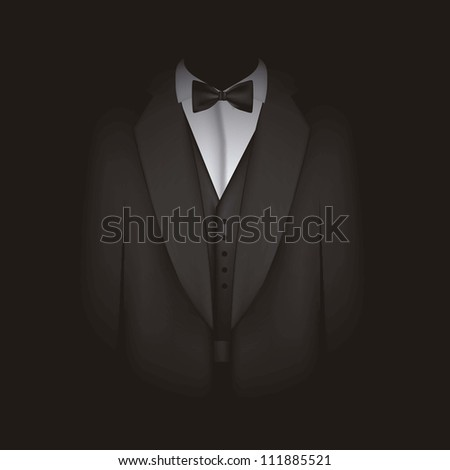 illustration of black suit with bow tie, blazer, vector illustration