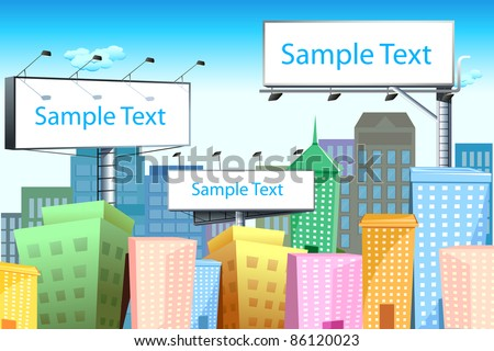 illustration of blank bill board in cityscape with tall building - stock vector
