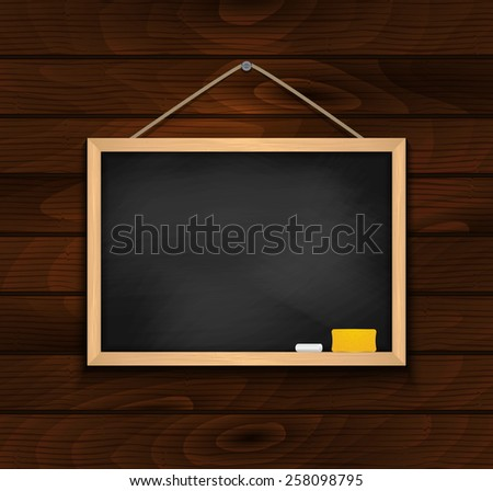 Illustration of blank black chalkboard with chalk and eraser on wood background  - stock vector