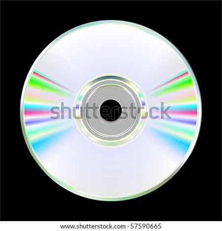 Illustration of blank CD or DVD disc on black background. Vector - stock vector