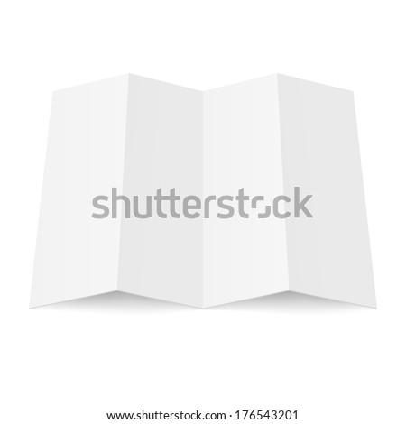 Illustration of blank fourfold booklet on white background - stock vector