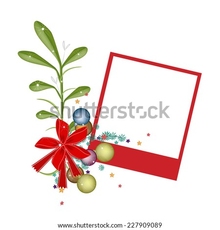 Illustration of Blank Instant Photo Print or Frame with Mistletoe Bunch and Christmas Balls, For Christmas Celebration.  - stock vector