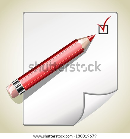 illustration of blank paper and pencil