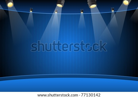 illustration of blank stage for performance with spot light - stock vector
