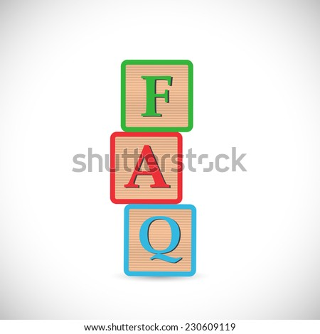 Illustration of blocks spelling FAQ isolated on a white background.