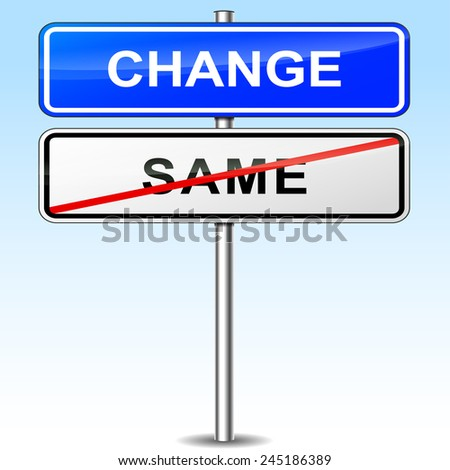 illustration of blue and white sign for change
