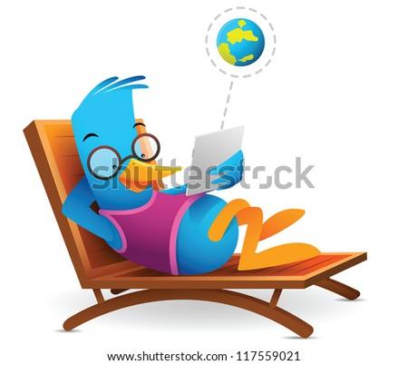 Illustration of Blue Bird sitting using tablet - stock vector