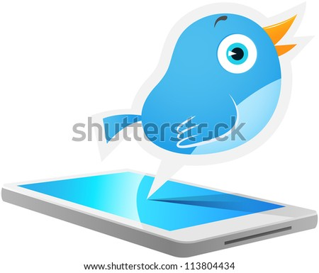 Illustration of Blue Bird talking out from smart phone