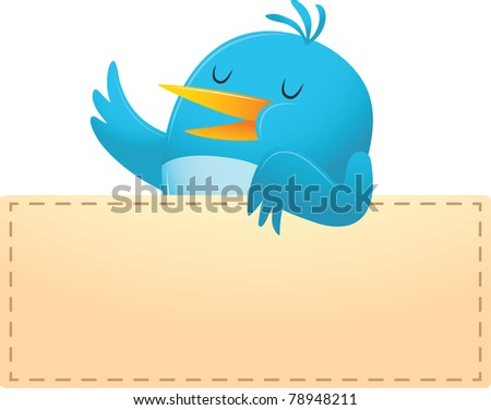 Illustration of Blue Bird with blank banner - stock vector