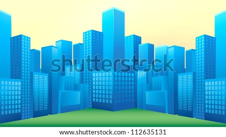 Illustration of blue buildings in perspective view