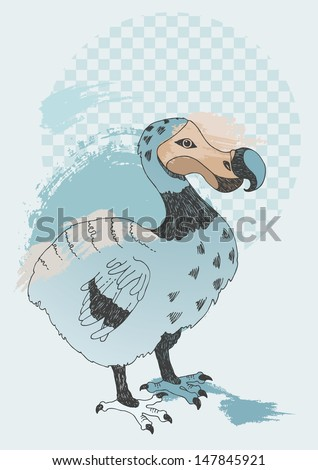 Illustration of blue Dodo - stock vector