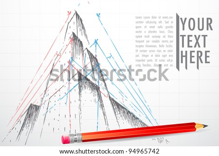 illustration of blueprint of building with pencil - stock vector