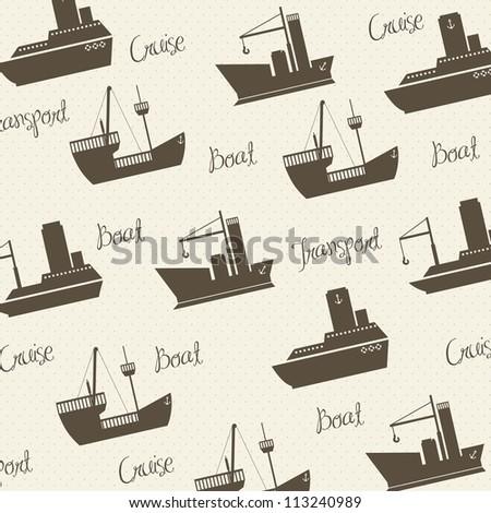 Illustration of boats pattern on white background, vector illustration - stock vector