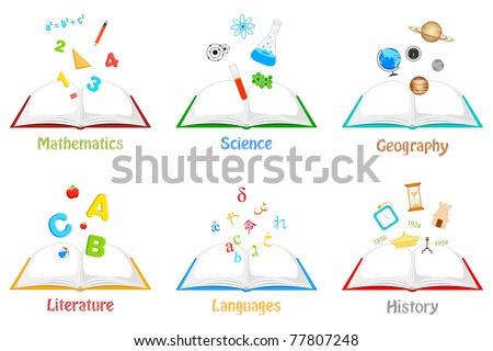 illustration of books for different subject with related elements - stock vector
