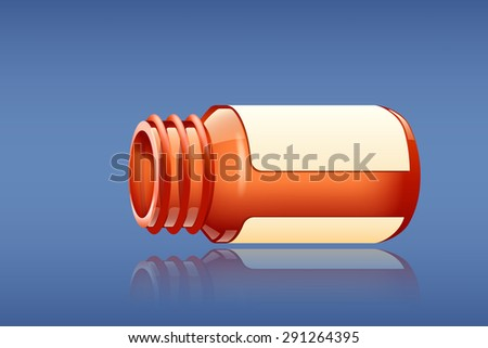 illustration of bottle for pills on blue background - stock vector