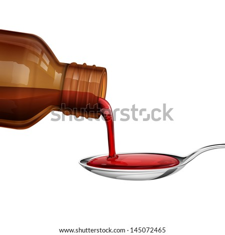 illustration of bottle pouring medicine syrup in spoon - stock vector