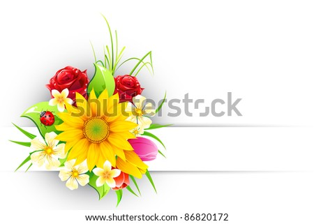 illustration of bouquet of colorful flower on abstract background - stock vector