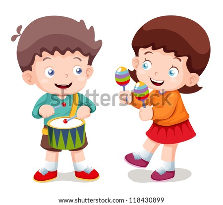 illustration of Boy and girl music - stock vector
