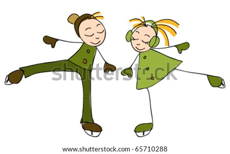 Illustration of boy and girl skating - stock vector