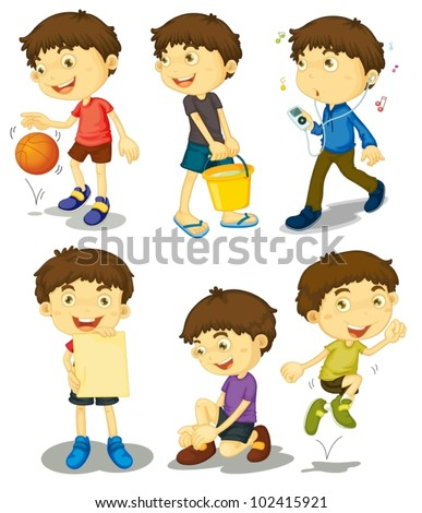 Illustration of boy in different poses - stock vector