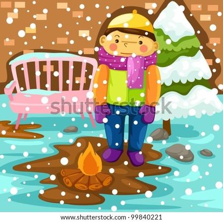 illustration of boy in snow season - stock vector