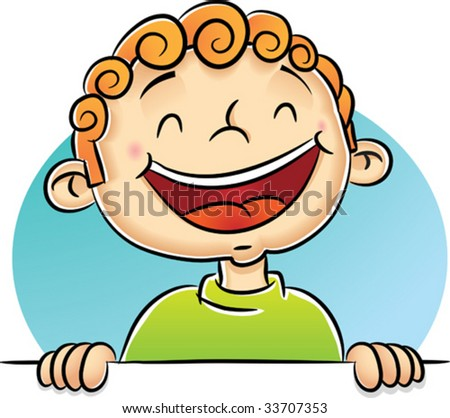 Illustration of Boy Laughing - stock vector
