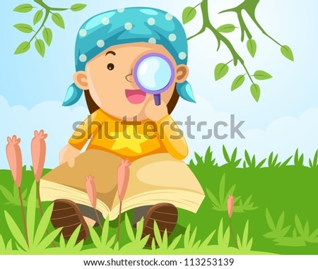 illustration of  boy looking through a magnifying glass - stock vector