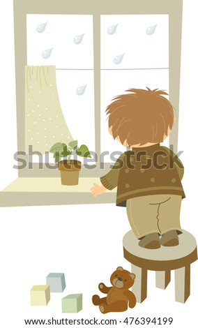 illustration of boy looking through the window at rain