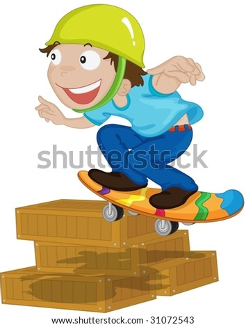 illustration of boy playing on boxes